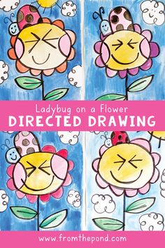 Ladybug on a Flower Directed Drawing (Frog Spot) Spring Drawing, First Grade Art, Spring Art Projects, Kindergarten Art Projects, Directed Drawing, Classroom Crafts, Classroom Activities, Art Lessons Elementary, Drawing Lessons