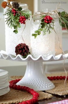 16 Best DIY Christmas Centerpieces - Beautiful Ideas for Christmas Table Centerpiece tablecenterpiecesforchristmas Noel Christmas, Christmas Projects, All Things Christmas, Holiday Crafts, Christmas Ornaments, Christmas Design, Modern Christmas, Christmas Lantern Diy, Decorating Lanterns For Christmas