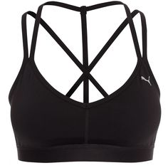 Puma Yogini Live Bra ($58) ❤ liked on Polyvore featuring activewear, sports bras, tops, black, sports fashion, womens-fashion, puma sports bra, logo sportswear, puma sportswear and puma activewear