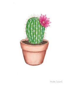 Cactus painting. Succulent watercolor art set. Plant wall art.