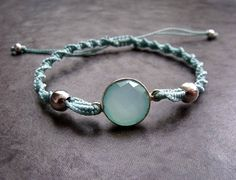 Aqua Chalcedony Gemstone Sterling Silver Connector Boho