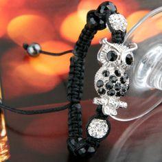 Metal Rhinestone Owl Nylon Braided Bracelet Bangle Hot Mother's Day Gift