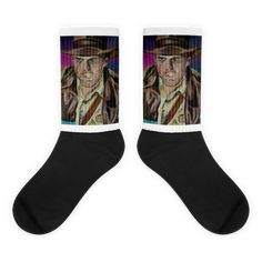 These socks are extra comfortable thanks to their cushioned bottom. The foot is black with artwork printed along the leg with crisp, bold colors that won't fade. Cool Socks, Awesome Socks, Harrison Ford, Us Man, Indiana Jones, Bold Colors, Artwork Prints, Cold, Cotton