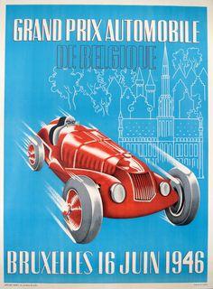 Grand Prix 1946 Brussels Belgium Vintage Poster Vintage Art Print Retro  Style Vintage Car Auto Racing Advertising Free US Post Low EU post 65fb97a2ab7