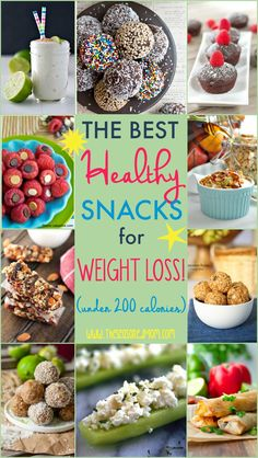 The ultimate list of The Best Healthy Snacks for Weight Loss (and they're all under 200 calories)! These clean eating options will indulge your cravings for salty, sweet, crunchy, creamy, and CHOCOLATE -- without derailing your diet!