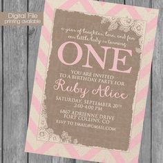 burlap and chevron girl birthday party by BlueFenceDesigns on Etsy, $11.00