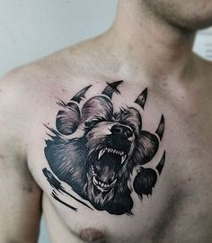 Best Chest Tattoos for Men – Chest Tattoo Gallery for Men - Check out ou. - Best Chest Tattoos for Men – Chest Tattoo Gallery for Men – Check out our website for mor - Bear Paw Tattoos, Tiger Tattoo, Hand Tattoos, Sleeve Tattoos, Lion Tattoo, Grizzly Bear Tattoos, Tattoos Skull, Tatoos, Cool Chest Tattoos