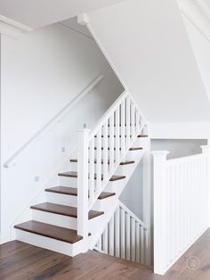 Classic design elements and raw textures lend Haverbrack Street its timeless feel. A combination of hardwood and pine, Haverbrack Street is best suited to classic homes. Cottage Staircase, White Staircase, Staircase Handrail, Entryway Stairs, Staircase Remodel, House Stairs, Basement Stairs, Banisters, Staircases