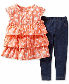 Carter's Baby Girls' 2-Piece Ruffled Bunny Top & Leggings Set