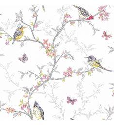 Papel pintado vintage con pajaros y flores de colores fondo claro - 40961