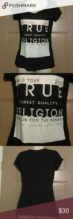 "TRUE RELIGION WOMENS T-SHIRT-SIZE XS-PERFECT!!! -Women's True Religion T-Shirt -Size XS -Perfect Condition -Short sleeved -V-neck -There are small diamond embellishments on the front -50% Modal, 50% Polyester -Armpit to armpit measures 16"" -Shoulder to bottom hem measures 24"" -Very Cute True Religion Tops Tees - Short Sleeve"