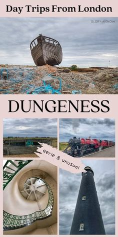 Are you looking for the most unusual things to do in the UK? Dungeness should be on top of your list! It's a super eerie place with the post-apocalyptic landscape, nuclear power station, majestic lighthouses, miniature railway, abandoned fishing boats, quirky architecture, and thriving wildlife. eerie attractions, unique things to do in the UK, UK's secret locations, off the beaten path attractions near London, day trips from London, quirky things to do in the UK, UK bucket list, UK photography Amazing Destinations, Travel Destinations, Day Trips From London, Nuclear Power, Unusual Things, Post Apocalyptic, Weekend Trips, Fishing Boats, Trip Planning