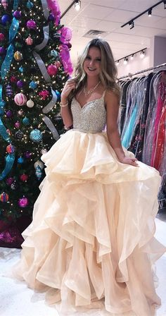 2018 prom dress, champagne long prom dress, long prom dress,Luxurious Sequins Champagne Long Prom Dress
