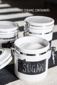 DIY Chalkboard Ceramic Containers