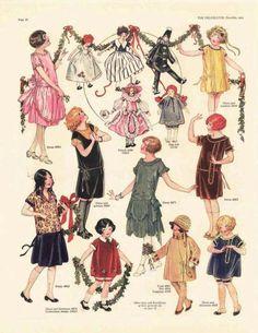 illustrations of 1920s flapper girls