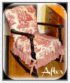 Red and White toile Comfortable Living Room Chairs, Accent Chairs For Living Room, Formal Living Rooms, Dining Chair Slipcovers, Dining Chairs, Folding Chair, Armchair, Shabby Chic, Furniture