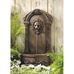 Inspired by European palace decorations, this faux stone fountain instantly creates an elegant impression. Graceful curves and classic lions head theme add timelessness to your surroundings! Outdoor u