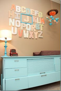 Cute for Nursery and frame letter of babys name Featured Friend: Natalie's Nursery - Unskinny Boppy