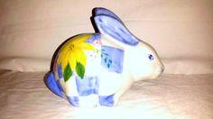 Vintage Porcelain Bunny,Hand Painted,Andrea by Sadek,Porcelain Rabbit,Blue,Bunny,Rabbit,Flowers and Squares,Collectible Bunny,Sadek by JunkYardBlonde on Etsy