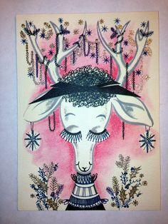 Vintage Mid Century Christmas Greeting Card Pink Reindeer Deer