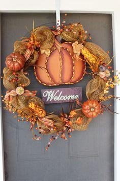 Fall Harvest Pumpkin Mesh Wreath