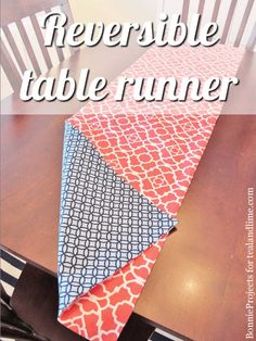 reversible table runner | 12 Home Decor Sewing Projects that will Make Your…