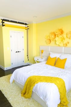 Adelaine Morin S Hello Yellow Bedroom Makeover Adelaine Small Room Bedroom, Bedroom Colors, Bedroom Wall, Yellow Walls Bedroom, Bedroom Ideas, Yellow Bedrooms, Child's Room, Teen Bedroom, Yellow Kids Rooms