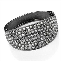 Minerva Collection Crystal Hinged Fashion Bangle Hematite