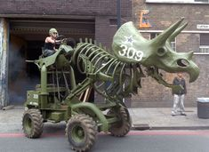 3-Ton Army Green Hydraulic Triceratops Sculpture by Wreckage