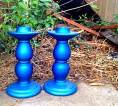 Vintage Set of Electric Blue Candle by ElizabethLaneBoutiqu, $16.00