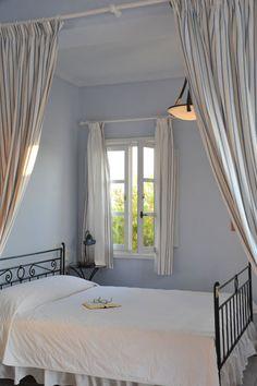 Pantheon Villas Hotel in Imerovigli, Santorini. Luxury villas on the caldera Luxury Villa, Santorini, Villas, Romantic, Curtains, Bedroom, Home Decor, Luxury Condo, Blinds