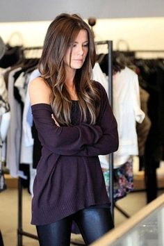 Sooo pretty! Her brown hair looks great with the wine purple slouchsweater!!!