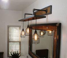 Route 62 Restorations Rustic Industrial Light - Steel and Barn Wood Vanity Light (Cage Shade) w/Bulbs Industrial Interior Design, Industrial Interiors, Industrial Bedroom Decor, Industrial Bathroom Vanity, Rustic Industrial Decor, Rustic Art, Rustic Theme, Rustic Style, Rustic Lighting