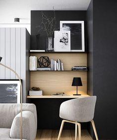 Esse home office ficou discreto e muito charmoso em preto! . Quer um cantinho para seu home office? Nós podemos te ajudar! . #conectarq #architecture #casanova #interiores #decor #arquitetura