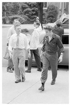 "Elvis Presley"" arriving for a performance in (1956)"
