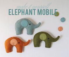 Benzie: A fanfare of felt.: Felt Elephant Mobile // Pattern and Instructions