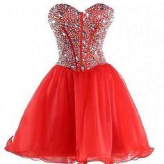 Custom Made Sweetheart Crystal Homecoming Dress