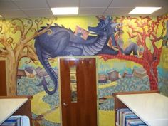 OMG this library mural is wonderful