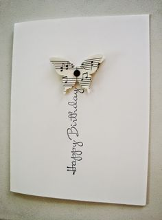 Stampin Up Handmade Card From Penguinstamper Butterfly Die Cut Sheet Music Birthday Greeting Serves As A Flight Trail