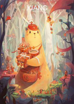 新年贺图-冬眠的Xiang._插画,猫,萌_涂鸦王国插画