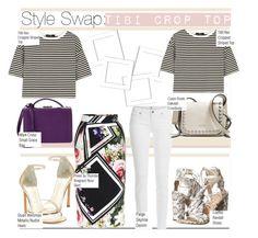 Style Swap:TIBI Stripe Crop Top by nfabjoy on Polyvore featuring TIBI, Preen, Paige Denim, Loeffler Randall, Stuart Weitzman, Coach, Mark Cross, croptop and styleswap