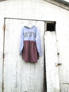 NYC upcycled boho hoodie romantic tunic / frock / by CreoleSha, $65.00