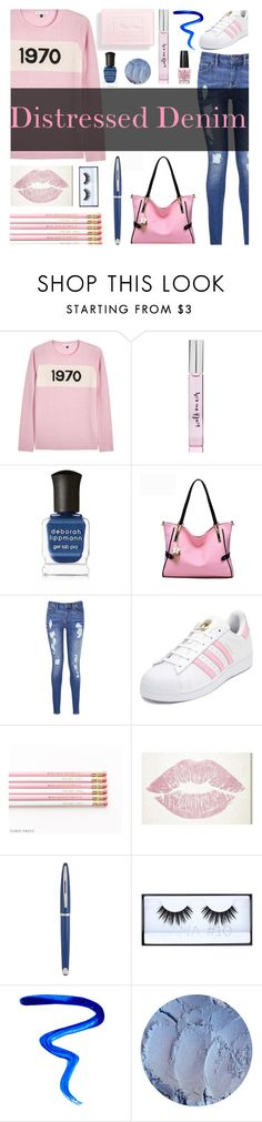 """""""Distressed Jeans( Pink & Blue)"""" by farmgirl2015 ❤ liked on Polyvore featuring Bella Freud, Kate Spade, Christian Dior, Deborah Lippmann, Tommy Hilfiger, adidas, Oliver Gal Artist Co., Waterman, Huda Beauty and Givenchy"""
