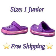 800981e30a97 ⭐NEW⭐CROCS Crocband Neon Purple   Neon Magenta Clog Size  1 Junior