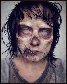 """As promised my realistic zombie makeup! Handmade latex eye nose and mouth prosthetics @camoeyes.com_ mesh contacts @ppipremiereproducts NecroMania palette @mehronmakeup """"Bruise"""" ProColoRing & Rigid Collodion #31daysofmehronhalloween #delilahhalloween2015 #zombie #walkingdead #sfx #makeup #camocustomer by bijouxvaudou"""