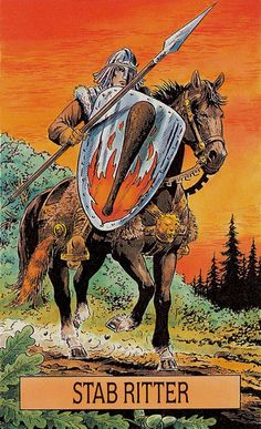 Today's tarotscope -- Knight of Wands -- featuring the Arcus Arcanum Tarot by by Gunter Hager and Hansrudi Wascher, published by US Games. King Of Swords, Ace Of Swords, Three Of Wands, King Of Cups, Ace Of Pentacles, Tarot Card Decks, Knight, Moose Art, Art Gallery