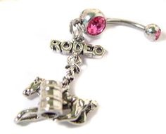 LOVE RODEO ** gangling BARREL *** BELLY NAVEL button RING