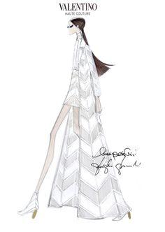 Fashion illustration - Valentino haute couture dress sketch