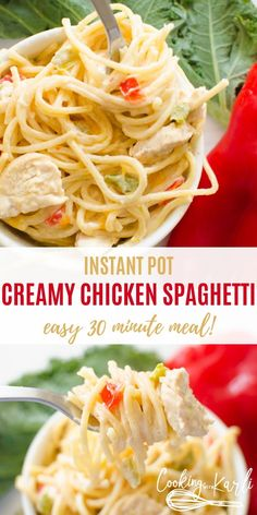 Instant Pot Creamy Chicken Spaghetti is a flavor packed dinner the whole family will enjoy. The from scratch creamy sauce flavored with onions and peppers compliment the chicken and al dente spaghetti noodles perfectly. This Instant Pot pasta dish will be Huhn Spaghetti, Creamy Spaghetti, Chicken Spaghetti Recipes, Cooking Spaghetti, Easy Chicken Recipes, Instantpot Chicken Recipes, Easy Recipes, Instant Pot Pasta Recipe, Instant Pot Dinner Recipes