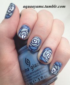 Blue Ombre Roses Nail Art china glaze